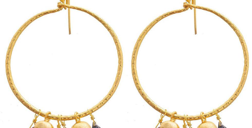 Multi Sapphire Hoop Earrings