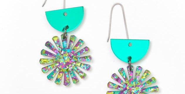 Star Drop Earrings - Peacock