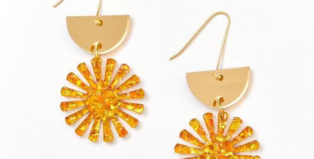 Star Drop Earrings - Gold / Amber