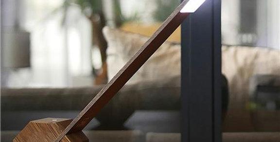 Gingko Octagon One Desk Lamp - Brown Wood