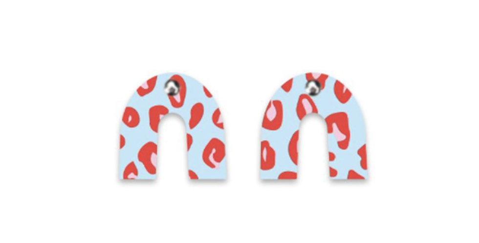 Arch Earrings - Red / Blue Leopard