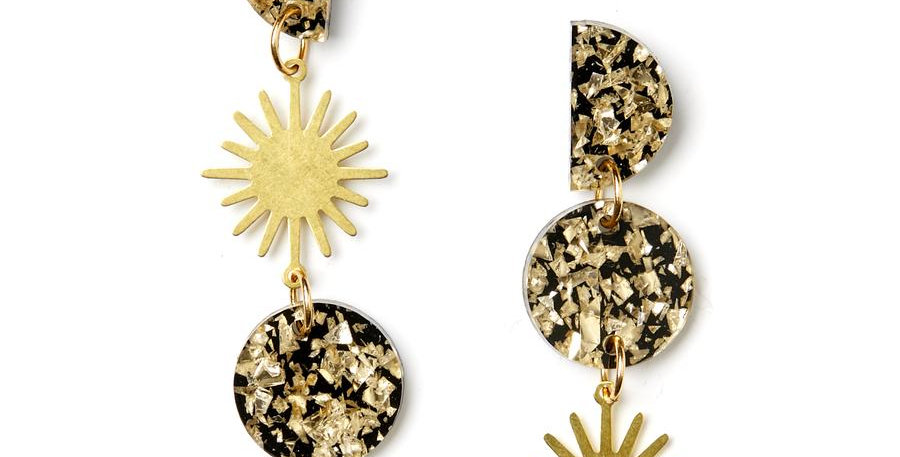 Sun Moon Earrings - Gold