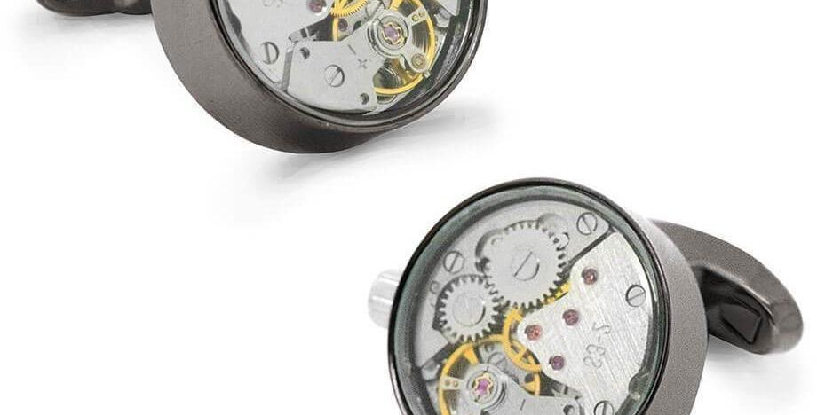 Watch Movement Cufflinks - Gun metal / Silver