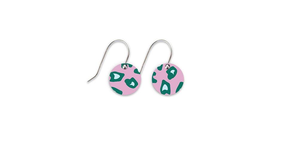 Small Circle Drop Earrings - Green Leopard