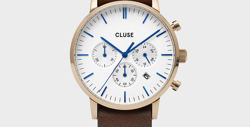 Cluse Mens Aravis Chronograph Gold White/Dark Brown Nato Watch