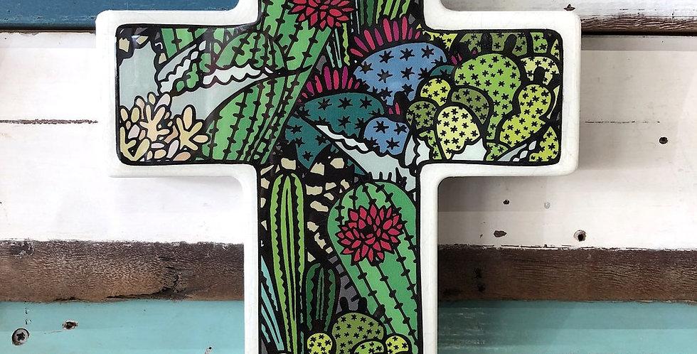 Cactus Cross - Large Woodblock