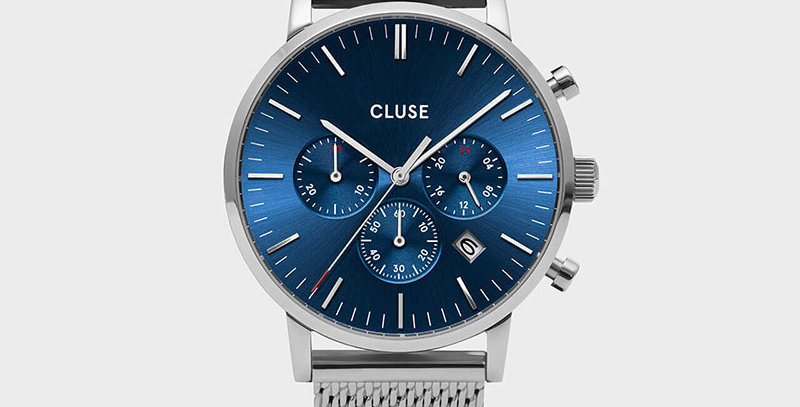 Cluse Mens Aravis Chronograph Silver Dark Blue/Silver Mesh Watch