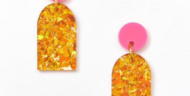 Arc Earrings - Magenta / Amber