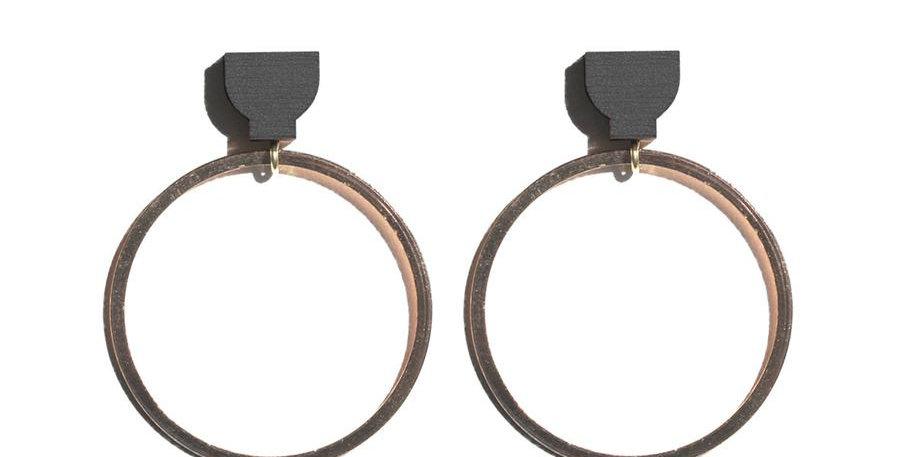 Hoop Earrings - Black / Copper