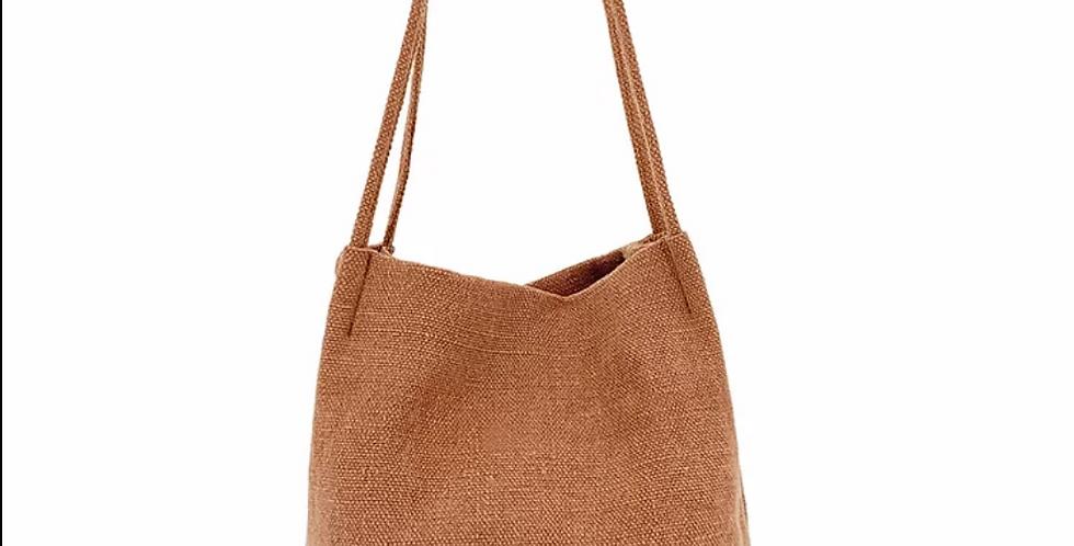 Natural Long Handle Bag - Rust