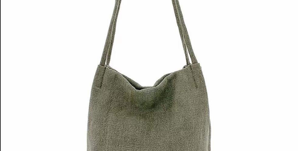 Natural Long Handle Bag - Green