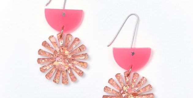 Star Drop Earrings - Neon Pink