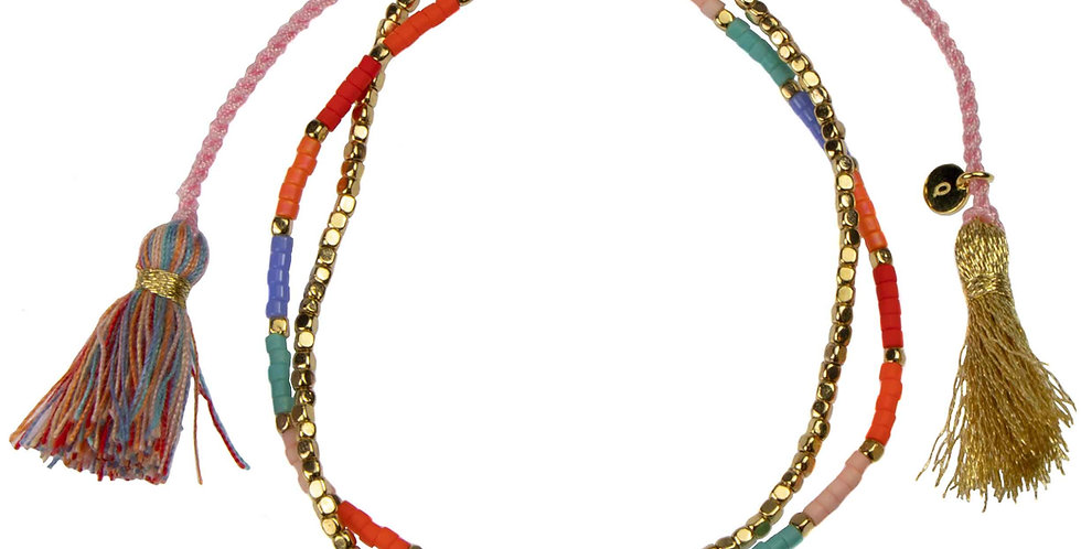 Miyuki Bead Pink Cord Bracelet