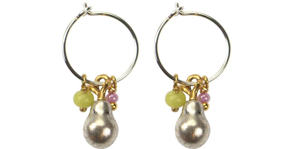 Pear Pendant Hoop Earrings