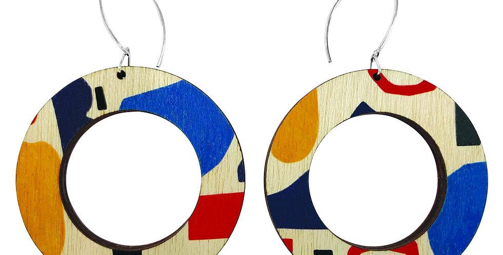 Abstract Pattern Hoop Earrings
