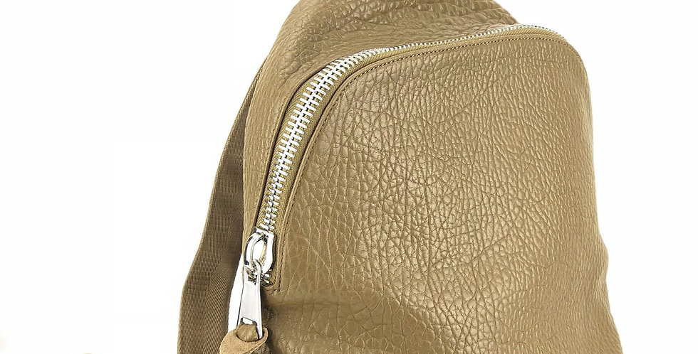 Pebbled Leather Backpack - Olive