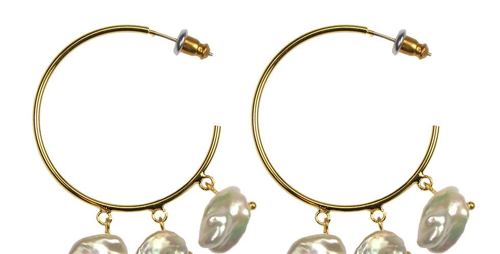 Statement Pearl Hoop Earrings