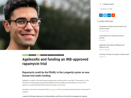Longevity Technology: AgelessRx and Funding an IRB-Approved Rapamycin Trial