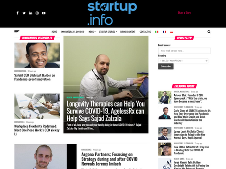 AgelessRx Featured as 'Innovators VS COVID 19' on Startup.Info