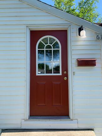 Front door showing windowpane