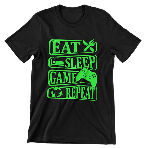 EAT SLEEP GAME REPEAT TEE (GREEN PRINT)
