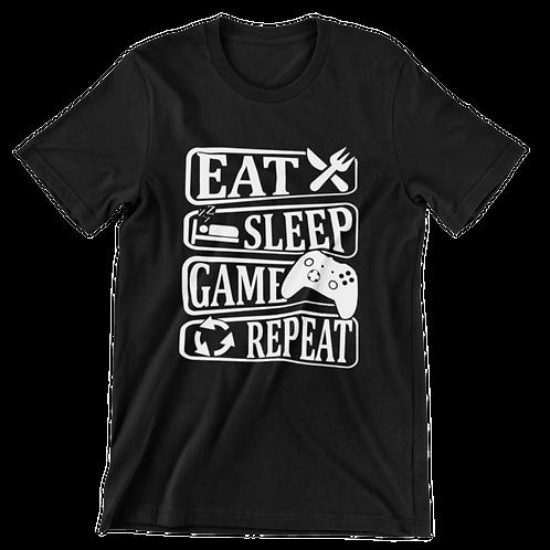EAT SLEEP GAME REPEAT TEE (WHITE PRINT)