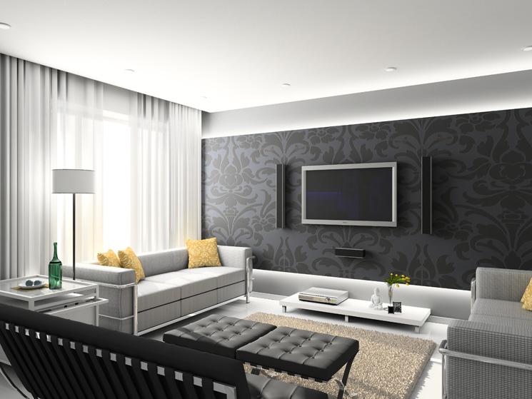 Black-and-white-living-room-wallpaper-design