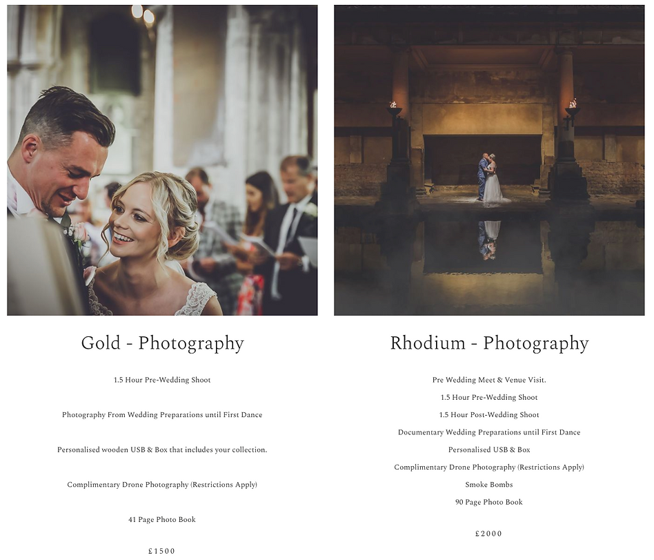 wedding photography packages