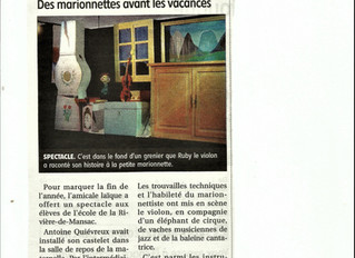 "Article de presse / Spectacle : ""Le violon perdu"""