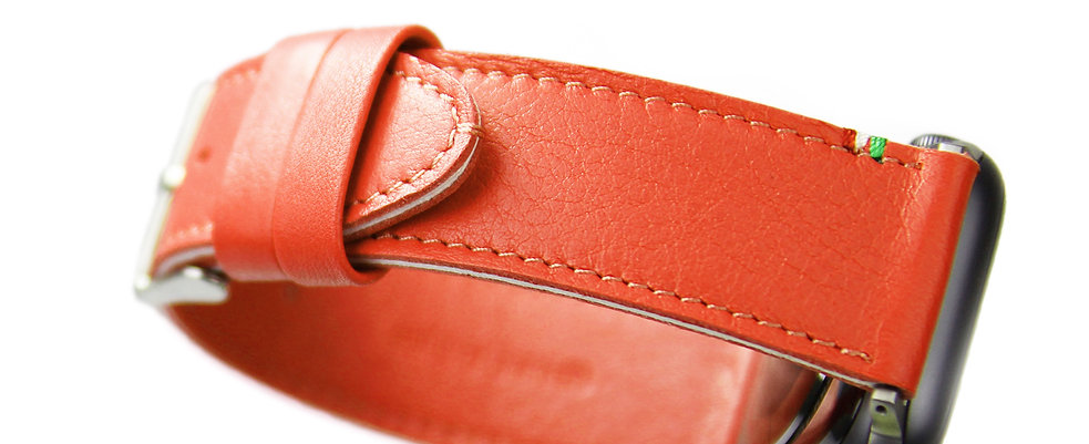 Striped Leather Watch Band_ Spicy Orange