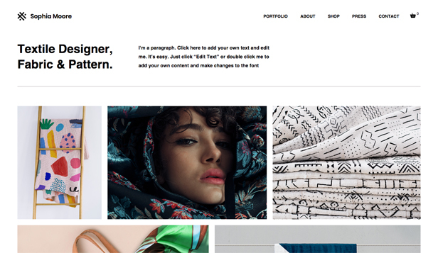 Kunst & Design website templates – Textile Designer
