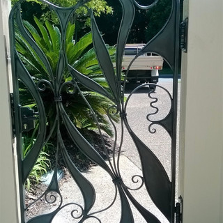 Free Style Wrought Iron Pedestrian gate, Inside aspect.