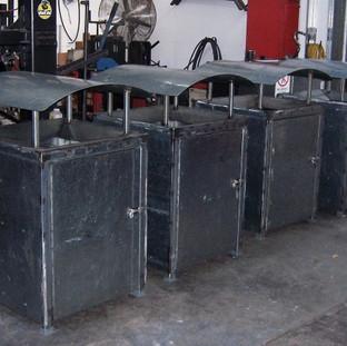 Heavy duty council approved public rubbish bins.