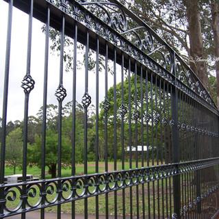"""""""Contemporary"""" sliding gate. (close-up detail.)"""