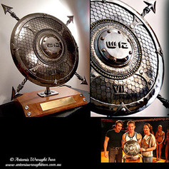 """""""WRRF"""" Trophy shield. A commissioned MMA trophy shield for Warriors Realm Reality Fighting, sponsored by """"Australia Zoo""""."""