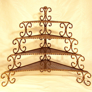 """""""Golden triangle""""  A 4-tier corner plant stand, featuring a central rose-bud and a concave honeycomb shelf design."""