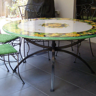"""""""Roman greco""""  Table base with ceramic mosaic top fitted."""