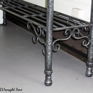 """""""Victorian"""" outdoor bench (leg and scroll detail.)"""