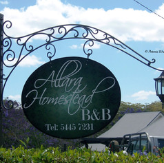 """""""Allara Homestead"""" Wrought iron signage Features tubular lower scroll to conceal lamp wiring."""