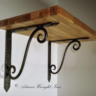 Artemis Wrought Iron  Scrolled Shelf Bra
