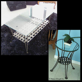 """""""Thatched""""  Coffee tables Featuring glass tops and thatched iron shelves."""