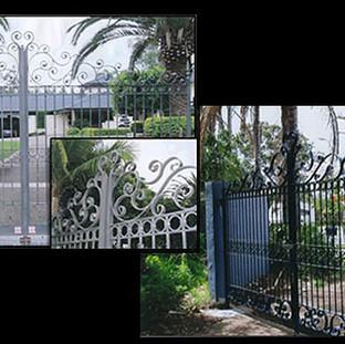 """Contemporary""  double swinging entrance gates."