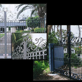 """Contemporary""  double swinging entrance gates."