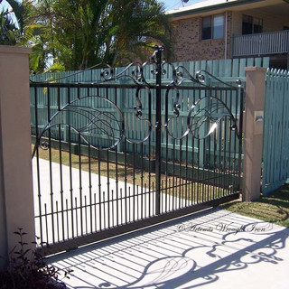 """Combination contemporary"" free- form sliding gate  (1 of 2)"