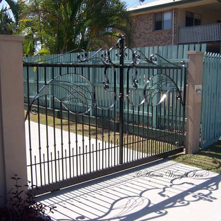 """Combination contemporary"" free- form sliding gate  (1 of 2)"