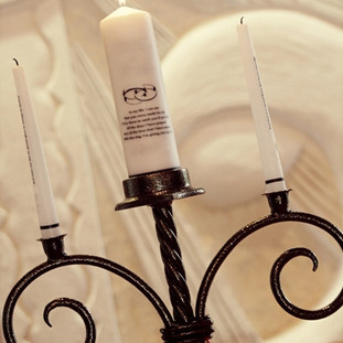 "Wedding ""Unity"" wrought iron candle holder with heart shaped base."
