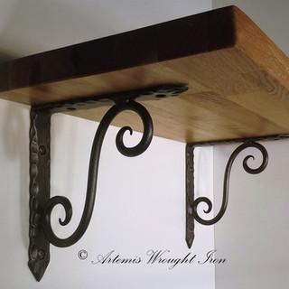 Artemis  Wrought Iron Scrolled Shelf Brackets