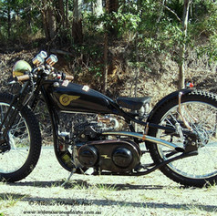 """""""Rolling art"""" 1930,s Indian replica. Features a fully handbuilt frame and all associated copper, brass, aluminium, and stainless steel parts. Forged springer forks, vintage coil sprung seat, 300cc vintage Honda modified sidevalve engine, cvt transmission, and large diameter wheels."""