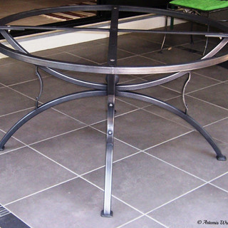 """""""Roman greco""""  Table base A large round steel table base to support a large custom-made ceramic mosaic top seats 6-8 people."""