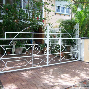 """""""Heritage"""" listed premises  1 of 3 entrance gates to match existing front wall ironwork."""
